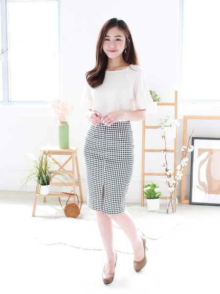 Gingham Slit Midi Skirt