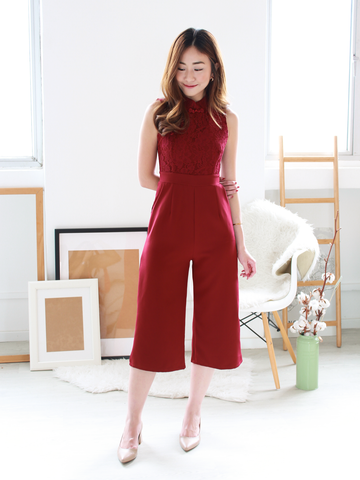 Novi Lace Jumpsuit in Wine