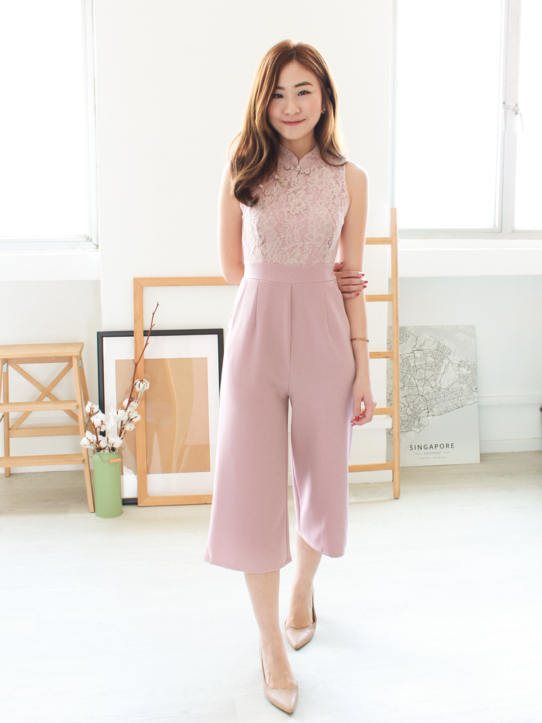 Novi Lace Jumpsuit in Blush