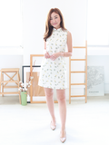 Pineapple Detachable Collar Shift Dress