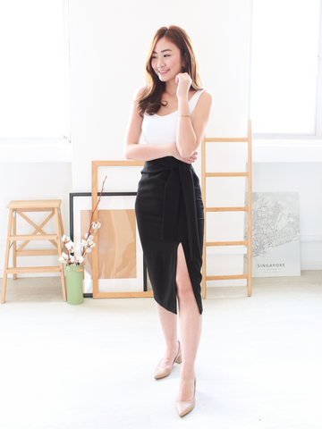 (BACKORDER) Alva Slit Tie-Waist Skirt