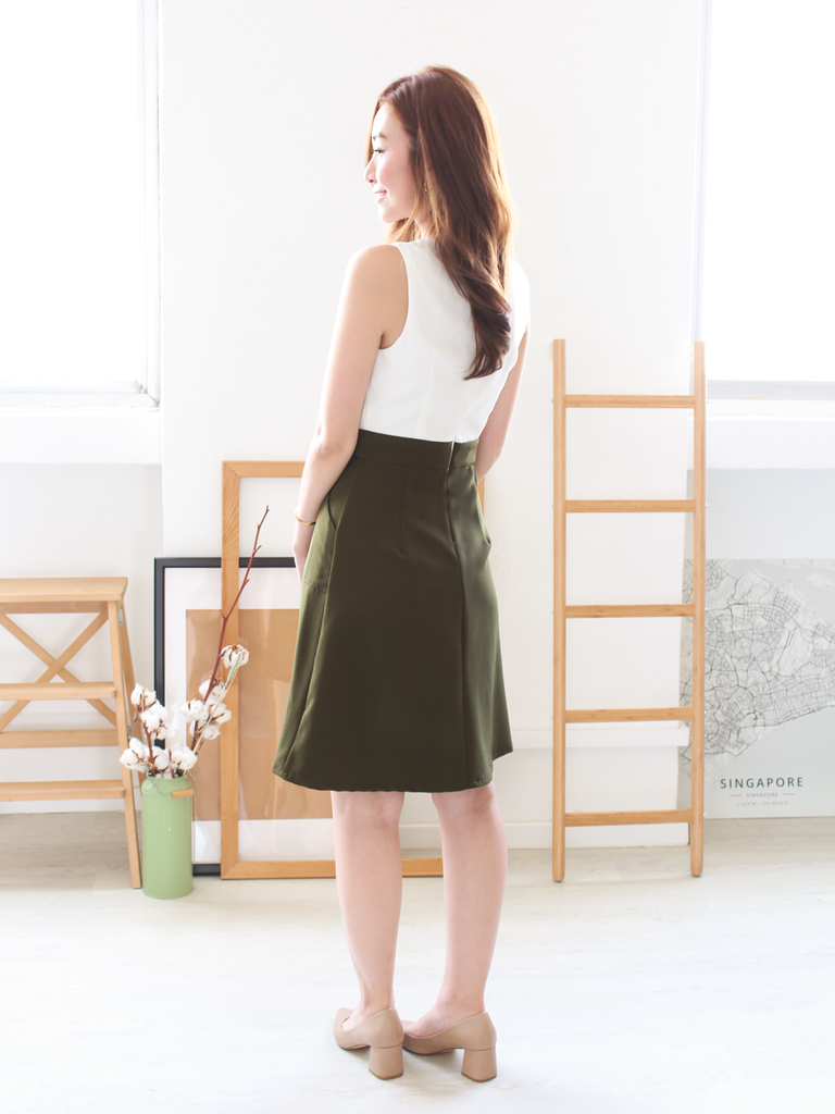 Noah Pocket Slit Dress in Olive
