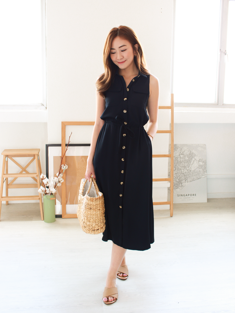 Ella Utility Midi in Navy