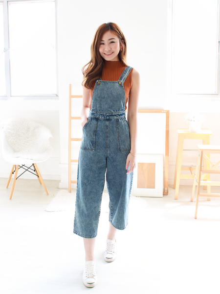 (BACKORDER) Denim Dungarees in Acid Wash