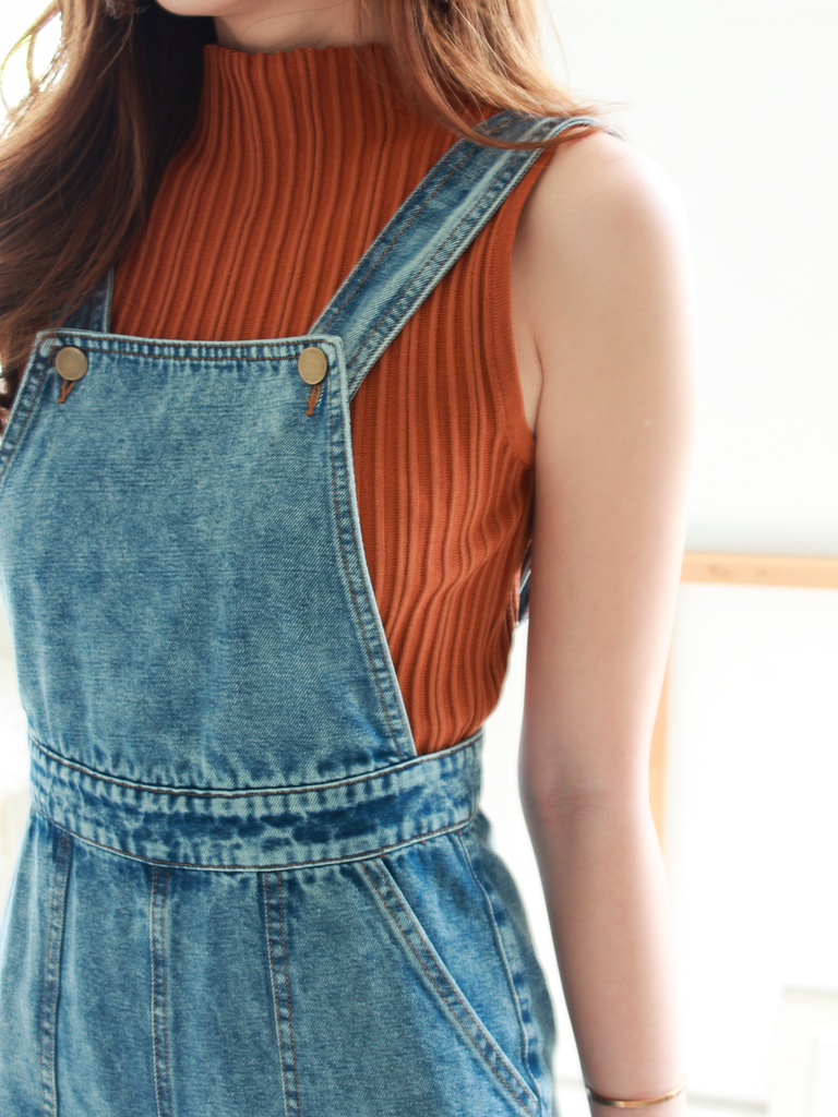 Denim Dungarees in Acid Wash