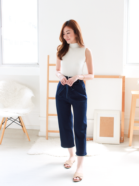 Reileen Denim Paperbag Pants in Dark