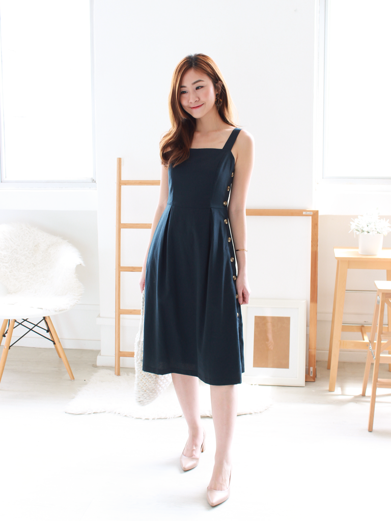 Claire Linen Button Dress in Navy