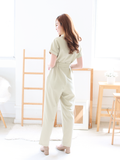 Leon Utility Pocket Jumpsuit in Nudish Sage