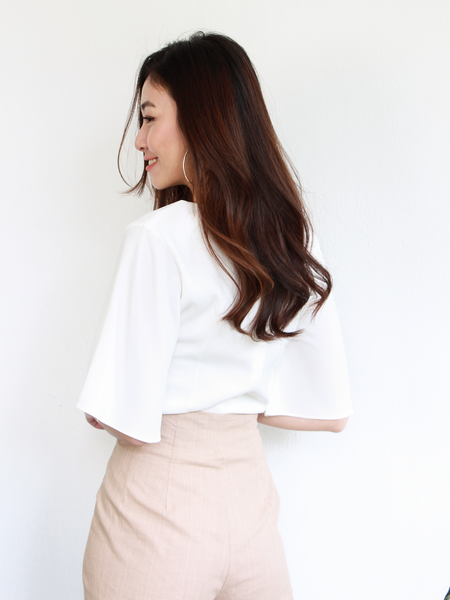 Jex Fluttersleeve Top in White