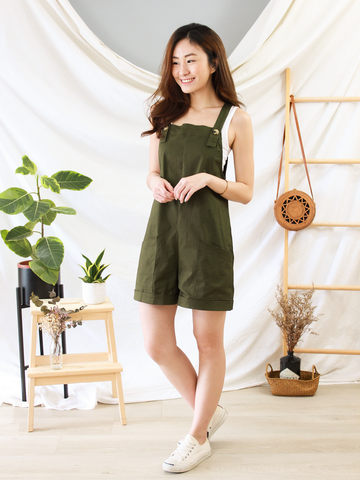 Becca Dungarees in Olive