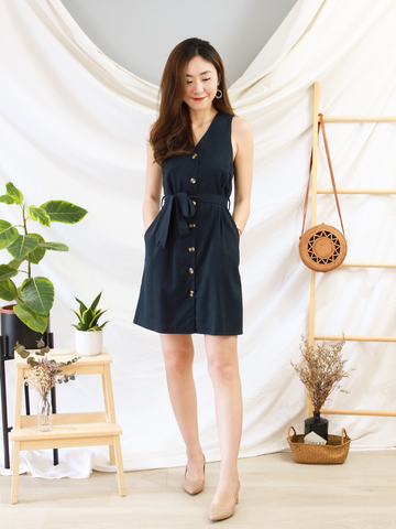 Glenn Button-Down Dress in Navy