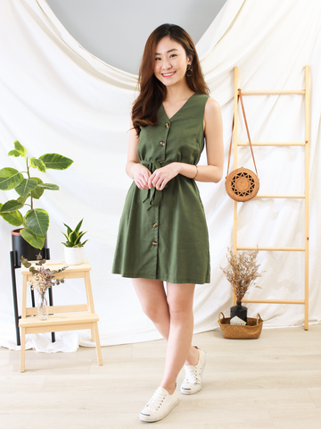 Glenn Button-Down Dress in Olive