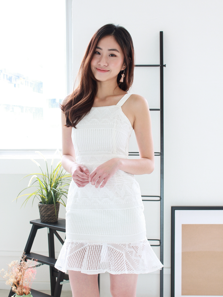 Hendrick Overylay Dress in White