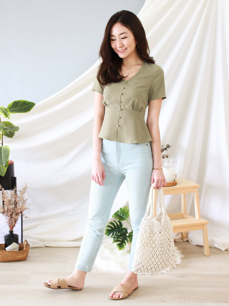 Gayle Peplum Top in Sage | *MADEBYWC