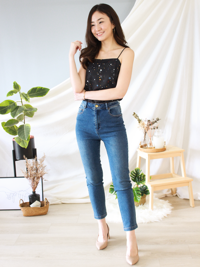 Darius High-Waisted Denim Pants in Dark Wash