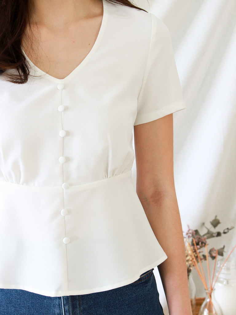 Gayle Peplum Top in White | *MADEBYWC