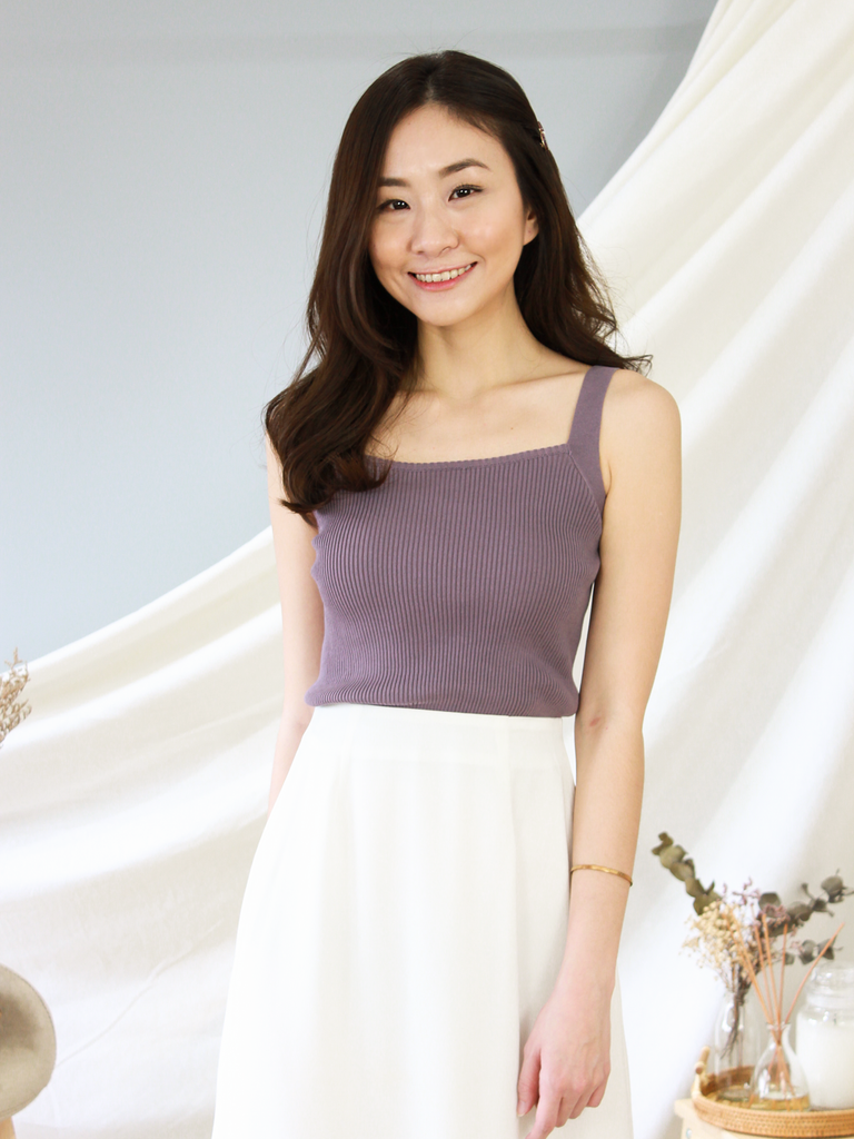 Atlas Square Neck Knit Top in Dusty Lilac