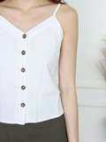 Mizuki Linen Button-Down Top in White
