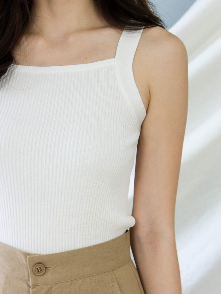 Atlas Square Neck Knit Top in White