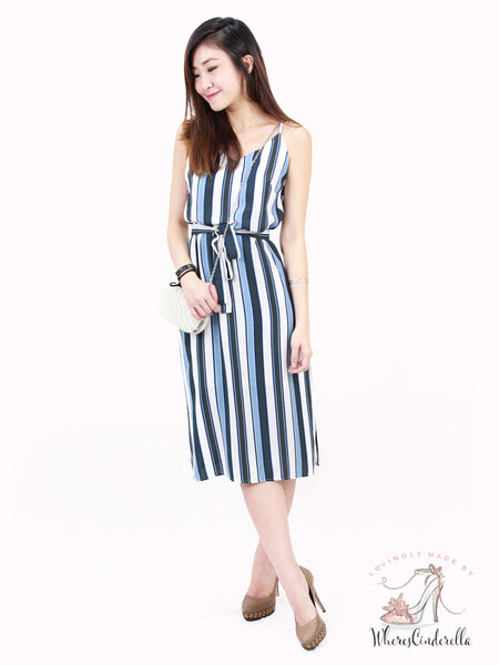 Shayne Slit Midi in Blue Stripes | *MADEBYWC