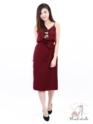 (BACKORDER) Shayne Slit Midi in Wine | *MADEBYWC