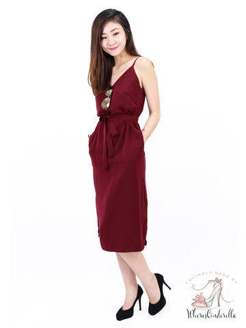 Shayne Slit Midi in Wine | *MADEBYWC