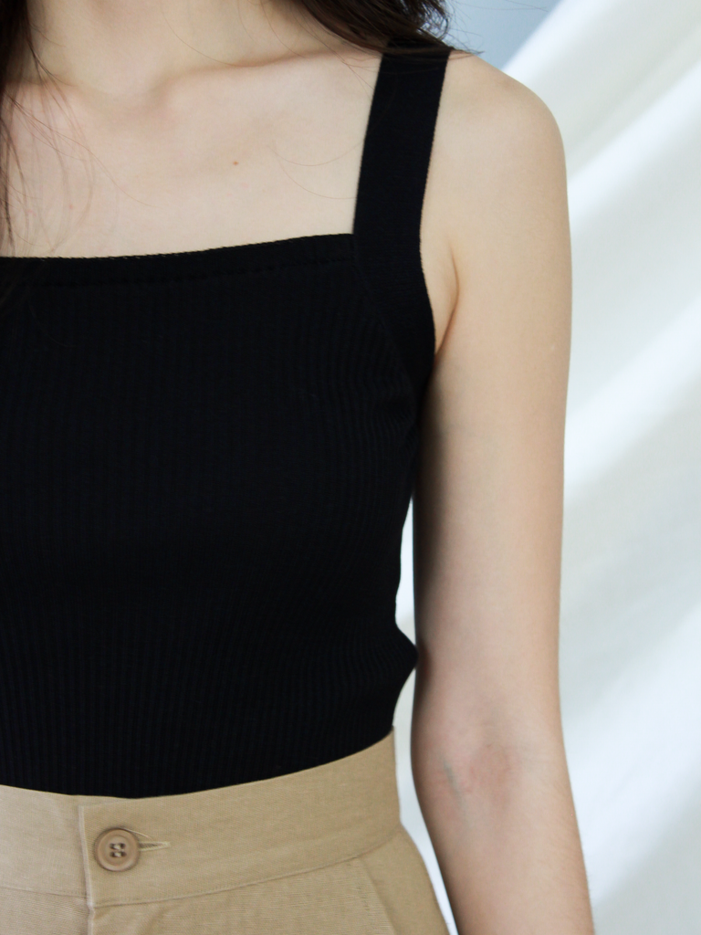 Atlas Square Neck Knit Top in Black