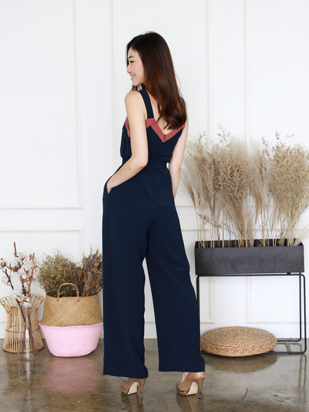 Tanisha Duo-Colour Jumpsuit in Navy