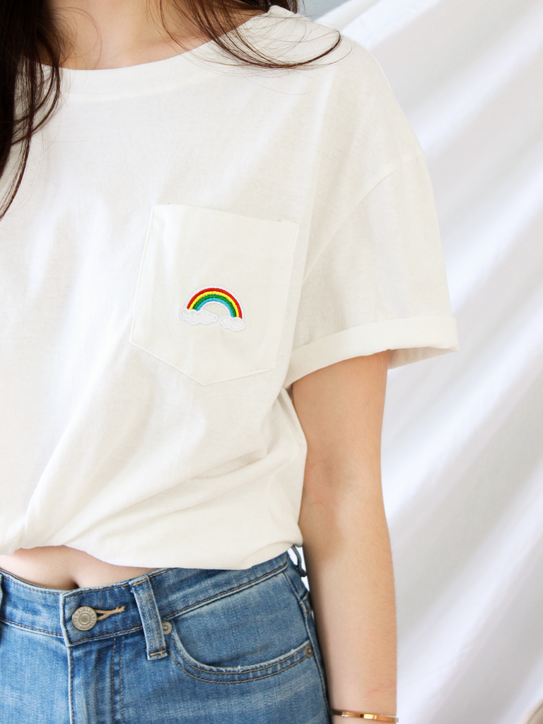 Over the Rainbow Pocket Tee in White