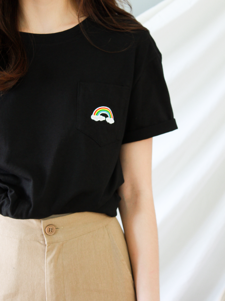 Over the Rainbow Pocket Tee in Black