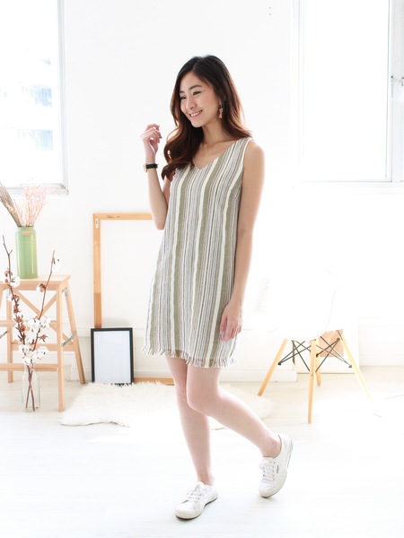 Caden Linen Striped Dress