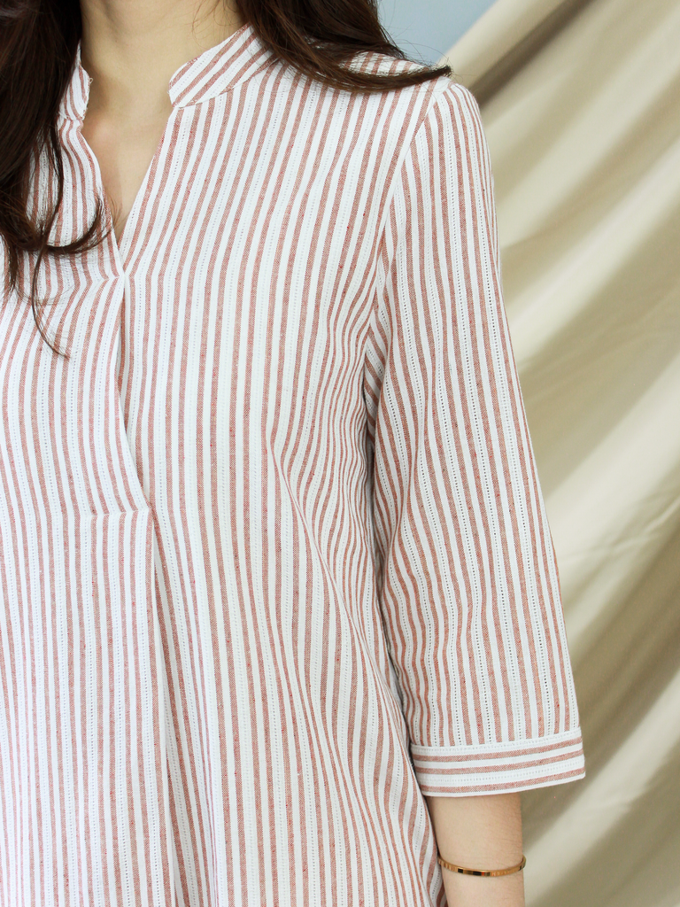 Anders Shirt Dress in Wine Stripe