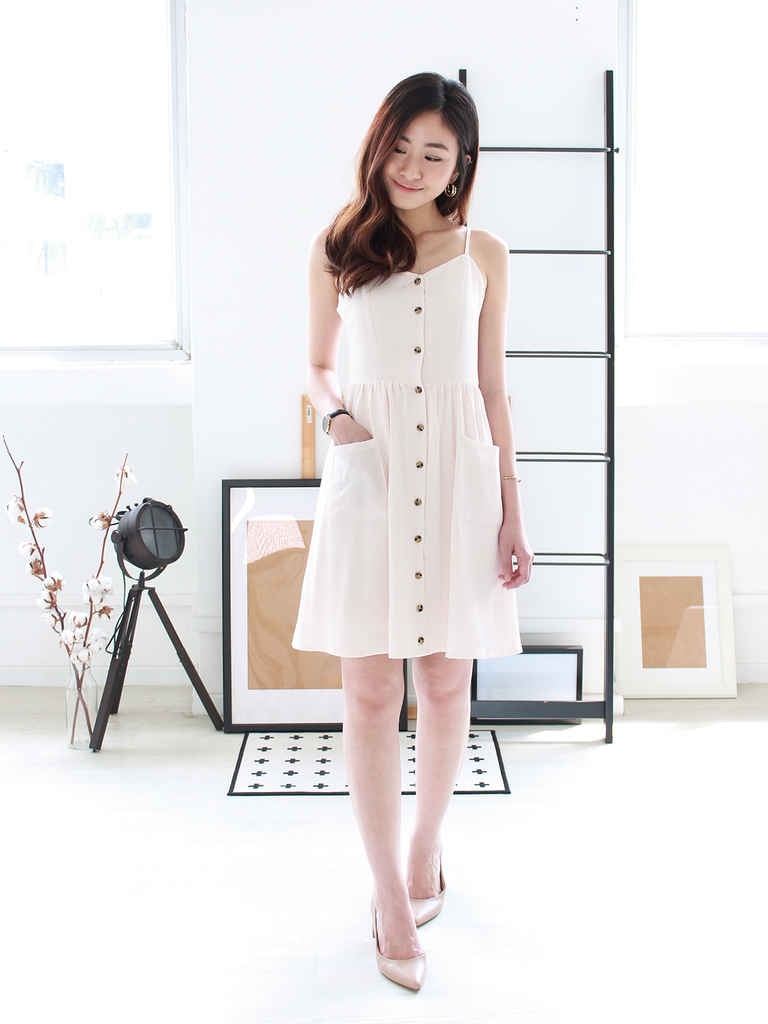 Leanne Pocket Dress in Cream