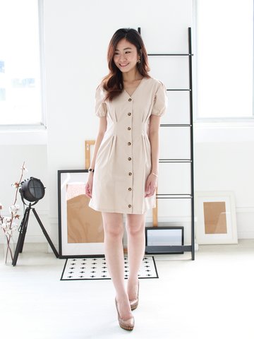 Freda Puff-Sleeve Pocket Dress in Nude