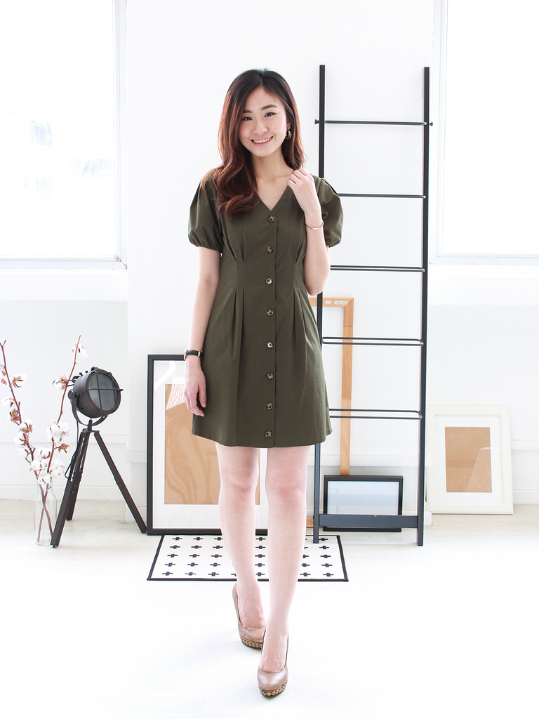Freda Puff-Sleeve Pocket Dress in Olive