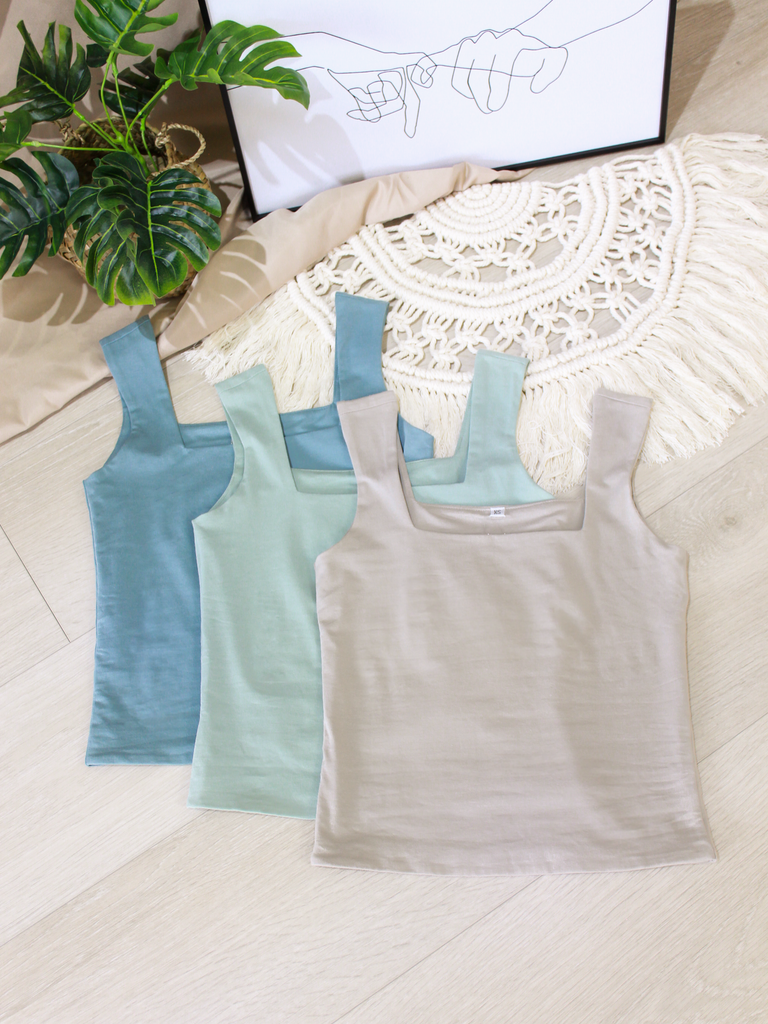 Square-Neck Everyday Top in Dusty Blue
