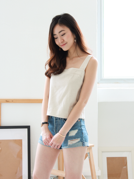 Resort Linen Top in Cream