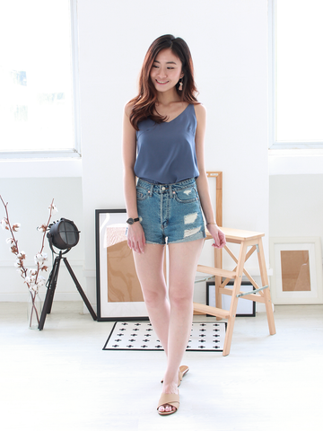 (BACKORDER) Nate V-neck Basic Top in Dusty Blue