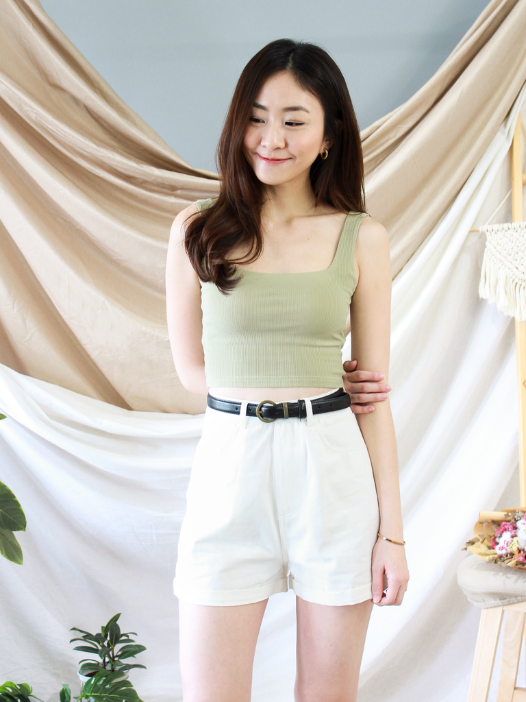 Mikayla Padded Square Neck Top in Sage