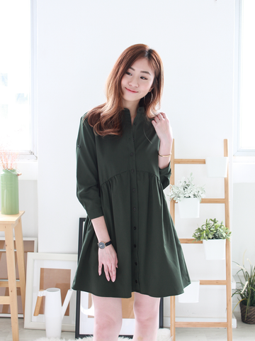 Jendall Relax Shirt Dress in Olive