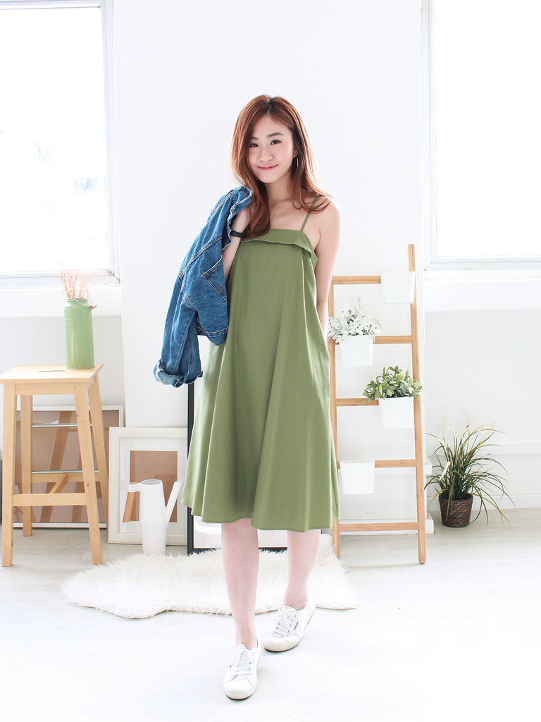 Mayer Linen Tent Dress in Olive