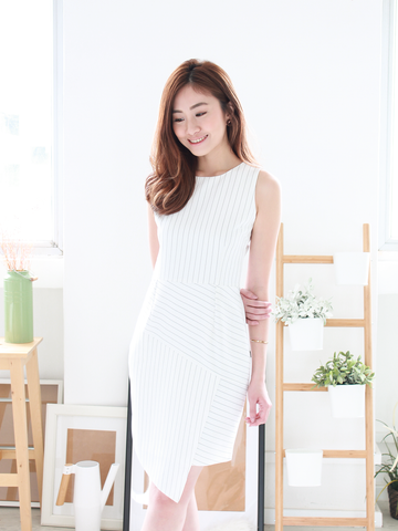 Diego Asymmetric Stripe Dress
