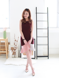 Ryan Duo-Toned Mermaid Dress in Wine