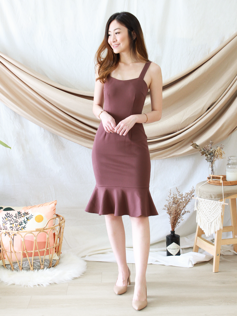 Maurice Mermaid Dress in Rosewood