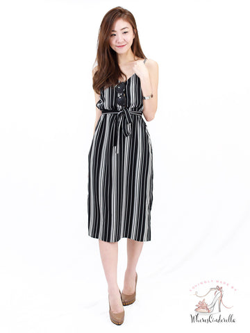Shayne Slit Midi in Mono Stripes | *MADEBYWC