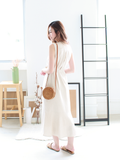 Mathilda Mermaid-Tail Linen Dress in Cream | *MADEBYWC