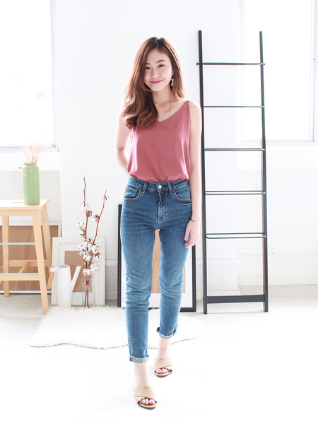 Nate V-neck Basic Top in Rose