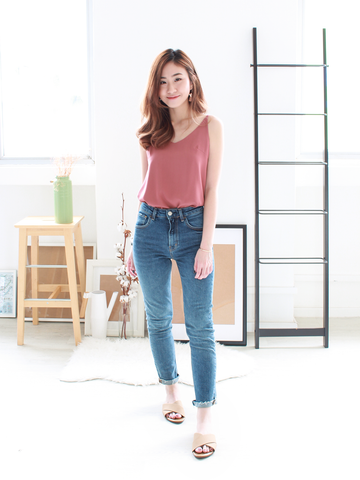 (BACKORDER) Nate V-neck Basic Top in Rose