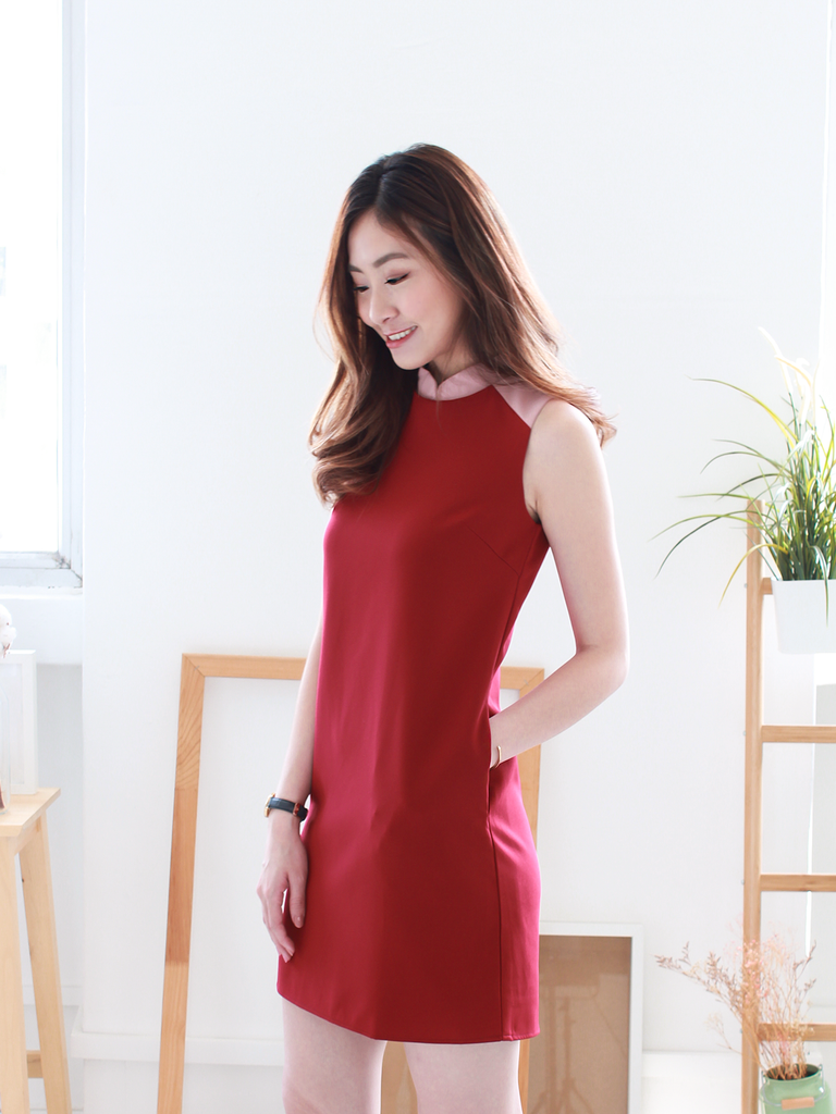 Trish Detachable Collar Colourblock Dress