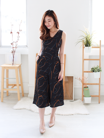 Pablo Abstract-Printed Jumpsuit in Black